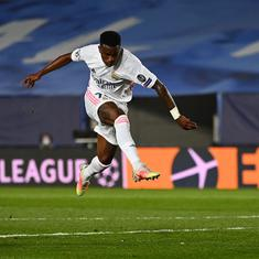 Champions League: Vinicius Junior puts Real Madrid on top in quarter-final tie against Liverpool