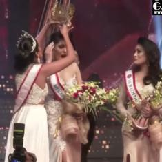 Drama at Mrs Sri Lanka pageant as Pushpika de Silva wins, loses crown (injuring her head), then wins