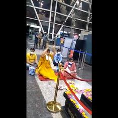Watch: MP minister performs rituals in front of statue at Indore airport to get rid of Covid-19