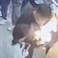 Caught on camera: Mobile phone catches fire inside man's bag