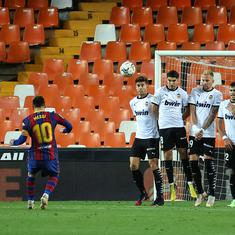 Watch: Lionel Messi scores sublime free-kick in Barcelona's nail-biting win over Valencia