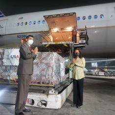 Where are the 300 tonnes of emergency Covid-19 supplies that have landed in Delhi in last five days?