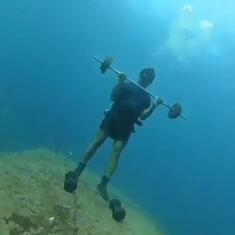 Watch: Man from Puducherry works out underwater to highlight need for exercise during the pandemic