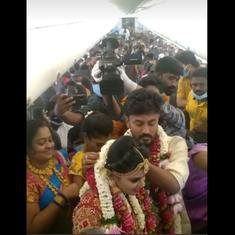 Watch: Tamil Nadu couple has mid-air wedding on chartered flight during Covid-19 pandemic