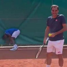 Watch: An unforced error from 'out of rhythm' Roger Federer and a painful blow to Gael Monfils