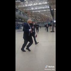 Caught on camera: UK Prime Minister Boris Johnson running late for a train