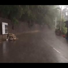 Watch: Trees are uprooted, roads are blocked as heavy rainfall and gusty winds lash Shimla