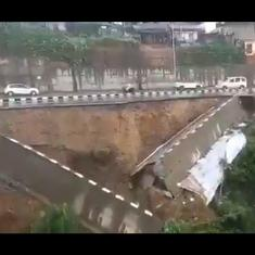 Watch: Large section of National Highway 415 collapses after heavy downpour in Arunachal Pradesh