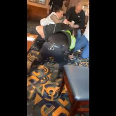 Unlocked after Covid: Heated brawl breaks out between police officers and customers at English pub