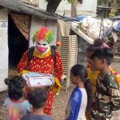Watch: Social worker dresses up as clown to help raise awareness about Covid-19 in Mumbai slums