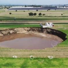 Watch: Massive sinkhole appears in fields in central Mexico