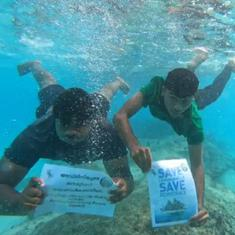 Watch: Lakshadweep residents hold underwater protest against controversial new draft rules