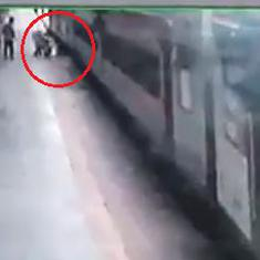 Watch: RPF official saves passenger who lost balance while trying to board a moving train
