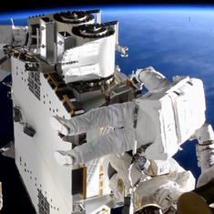 Watch: Astronauts spacewalk 260 miles above earth to install new solar arrays