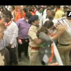 Watch: Police clash with BJP workers protesting in support of OBC reservations in Mumbai