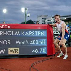 Watch: Norway's Karsten Warholm storms to new 400m hurdles WR, breaks Kevin Young's 29-year-old mark
