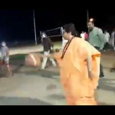 Watch: BJP MP Pragya Thakur leaves wheelchair to bounce a basketball and score a basket