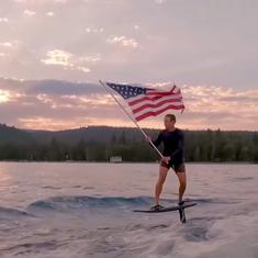 Watch: Mark Zuckerberg observes US Independence Day by surfing with the national flag