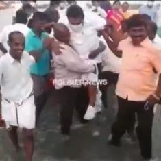 Watch: Man carries Tamil Nadu minister in his arms across ankle-deep water