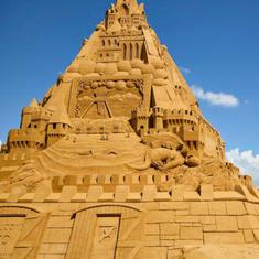 Watch: World's tallest sandcastle, built with 4.8 tonnes of sand, in Denmark