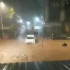 Watch: Vihar Lake overflows, streets inundated as incessant rains overwhelm Mumbai