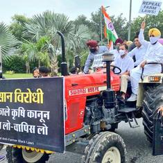 Watch: Rahul Gandhi drives tractor to Parliament to protest against farm laws