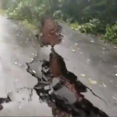 Watch: Heavy rain severely damages road in Gaganbawda, a popular tourist spot in Kolhapur district