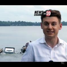 Watch: Truck sinks into lake behind reporter during live TV report from Missouri, US