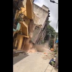 Watch: The precise moment a building collapses on the road in Lakkasandra, Bengaluru