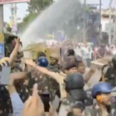 Watch: Police use water cannons against protestors gathered outside Haryana Chief Minister's house
