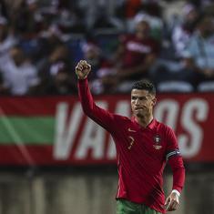 Football: Cristiano Ronaldo marks record appearance with a goal as Portugal thump Qatar