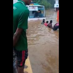 Scenes from Kerala floods: Car washed away, bus towed to safety, water rising everywhere