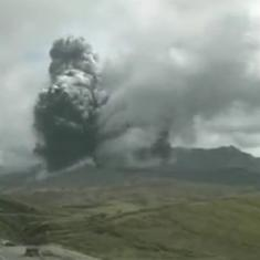Caught on camera: The precise moment the volcano Mount Aso erupted in Japan