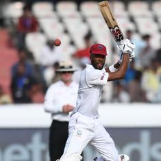 Second Test: Roston Chase's unbeaten 98 helps Windies post 295/7; Kuldeep, Umesh shine for India