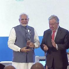 United Nations chief honours Narendra Modi with 'Champions of the Earth' award
